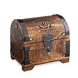 Geld-Schatztruhe zum 40. Geburtstag mit Gravur - Dunkel – Personalisiert mit Namen - Schmuckkästchen - Spardose - Aufbewahrungsbox aus Holz - Geburtstagsgeschenk-Idee - 14 cm x 11 cm x 13 cm