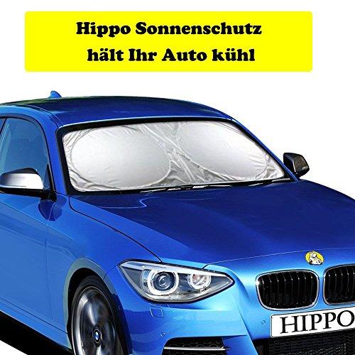 Hippo Sonnenschutz Auto, Sonnenblende Auto Frontscheibe für UV Schutz, Flexible Größe für Auto, SUV, LKW (160x90cm/63