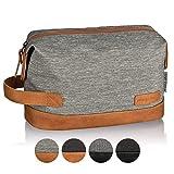 TRAVELSEVEN Premium Kulturtasche und Waschtasche für Frau und Mann, Hellgrau, Kosmetiktasche für Reisen, robust, wasserabweisend
