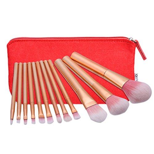 MagiDeal 12 Pièces Brosses de Maquillage Set Visage Yeux Lèvre Nez Poudre Crème Brush + Sac de Maquillage Rouge