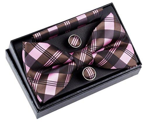 Ensemble nœud papillon pré-noué tissé texturé 12,7cm avec mouchoir de poche et boutons de manchette Motif à carreaux Pink and Dark Brown
