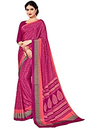 Salwar Studio Women's Magenta Italian Crepe Printed Saree With Blouse Piece