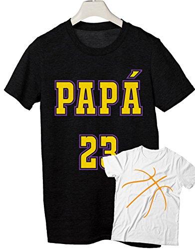combo t-shirt da uomo e tshirt da bambino e neonato festa del papà- Papà 23 - bambino palla basket- tutte le taglie uomo donna maglietta by tshirteria Nero