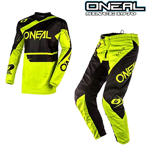 MOTORRADANZUG ONEAL ELEMENT 2020 MOTORRADKOMBI Motorrad Herren Motocross Anzug Rennkleidung Quad Cross Hose e Hemden Sport Bekleidung Off-road MX Zweiteilige Kombinationen (Neon Gelb, L - 34Hose)