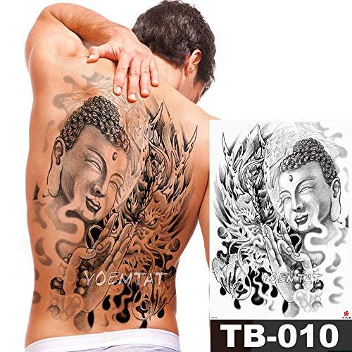 tzxdbh Big Large Full Back Brust Tattoo Aufkleber Buddha Rosenkranz Drachen Body Art Temporär Wasserdicht für Frauen - Kunst Der In Der Rosenkranz