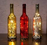 Home&Decorations H&D Original-Glas Laterne Flaschenlicht LED antik Gold Ø8 cm × H29cm - 3