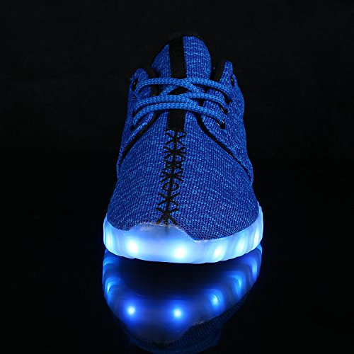 FLARUT LED Chaussures Unisexe Homme Femme Chaussure LED Sports Basket Lumineuse 7 Couleur USB Charge Chaussure Lumineuse Clignotants Bleu