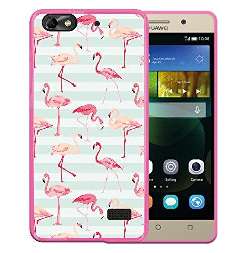 WoowCase Huawei G Play Mini - Huawei Honor 4C Hülle, Handyhülle Silikon für [ Huawei G Play Mini - Huawei Honor 4C ] Retro Flamingo Handytasche Handy Cover Case Schutzhülle Flexible TPU - Rosa