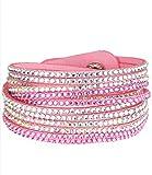 Caripe Damen Armband Wickelarmband Glitzer Steine viele Designs + Farben - strala (Modell 1 - rosa)