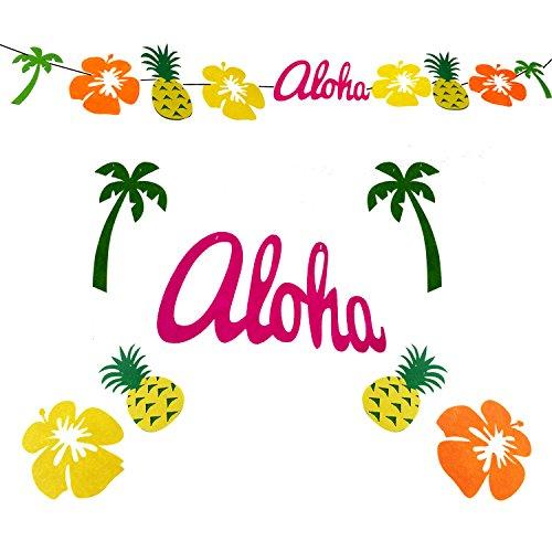 Winterworm Luau Party-Banner HAWAII Girlande tropische Ananas Palm Blätter Flamingo Frangipani, Hawaii, Strand, tropische Hochzeiten a