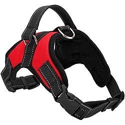 Chaleco de arnes de perro - SODIAL(R)Chaleco de arnes de perro de servicio de pano fresco y comodo de tela de Oxford para perros de color rojo S
