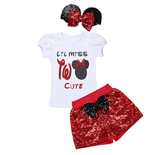 en Bekleidungsset Fotoshooting Kurzarm T-Shirt mit Pailletten Shorts Schleife Stirnband Set Baby Sets Baumwolle Outfits Karneval Fasching Weiß&Rot 80-86/12-18 Monate ()