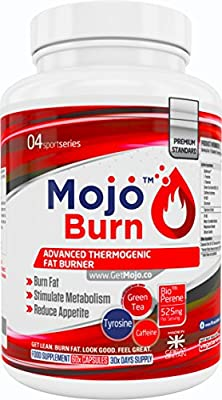 MOJO™ BURN - Thermogenic Fat Burner Supplement For Men & Women | Appetite Suppressant Weight Loss Pills | Metabolism Support | L-tyrosine L-theanine, Vitamin B6, Green Tea Extract | 60x Capsules + Money Back Guarantee by Get Mojo