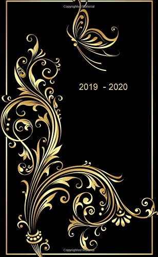 "2019 - 2020: Two-Year Monthly Pocket Planner: 24-Month Calendar , Notes and Phone book, U.S. Holidays, Size : 4.0"" x 6.5"", Hand Lettering book ( Gold Butterfly )"