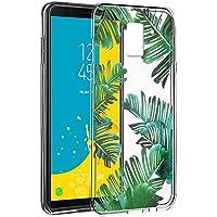Eouine Funda Samsung Galaxy J6 2018, Cárcasa Silicona 3D Transparente con Dibujos Diseño Suave Gel TPU [Antigolpes] de Protector Fundas para Movil Samsung J6 2018-5,6 Pulgadas (Hojas)