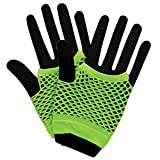 80's Net Gloves - Neon GREEN Fancy Dress Accessory