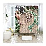 Bishilin 3D Duschvorhang Anti-Schimmel Sukkulente im Park Vintage Duschvorhang 200x180 cm