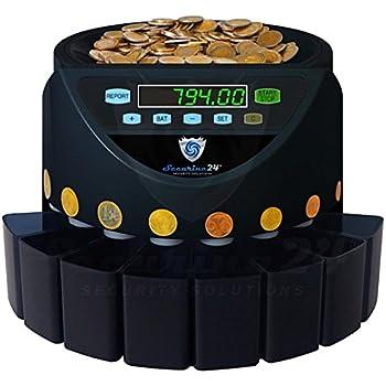 Münzzähler Euro Münzzählmaschine Münzsortierer Geldzählmaschine Münzen SR1200 von Securina24 (Schwarz - Blacklabel - BBB)