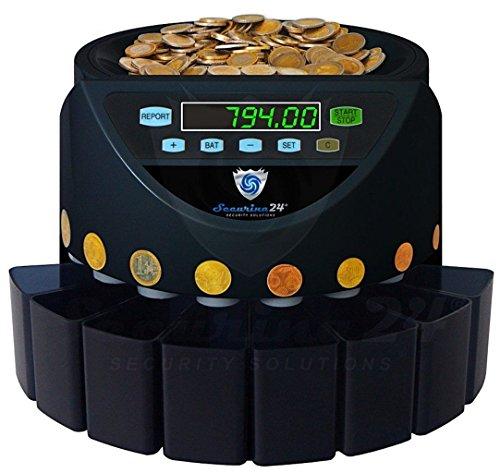 Münzzähler Euro Münzzählmaschine Münzsortierer Geldzählmaschine Münzen SR1200 von Securina24® (Schwarz - Blacklabel - BBB)