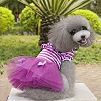 Easyshop estate Dog Puppy Dress Lace Skirt Stripe Princess Dress clothes