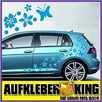 """Stickers Hibiscus """"Fiori e farfalle Set 75 pezzi"""" adesivo NB-0169-IT blu chiaro"""