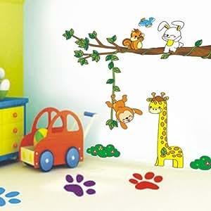 Sticker Mural Dessins Animaux de la Forêt Singe Ecureuil Lapin (Décalcomanie)
