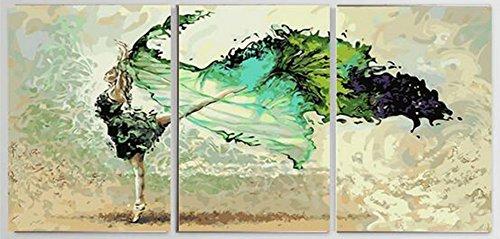 Wowdecor DIY Malen nach Zahlen Kits Geschenk für Erwachsene Kinder, Malen nach Zahlen Home Haus Dekor Set von 3 Stück Pack - Ballett Tänzerin Mädchen 16 x 20 x 3p Zoll Ohne Rahmen