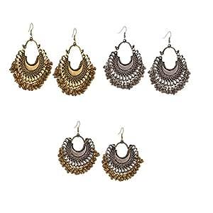 Zephyrr Combo Of 3 Gold & Silver Oxidized Ethnic Beaded Dangle & Drop Earrings Women