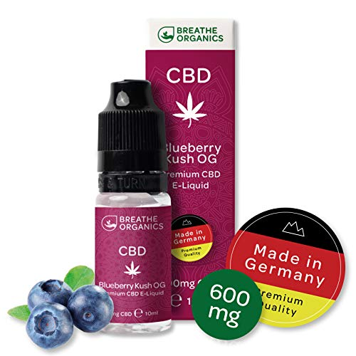 Premium CBD Liquid Blueberry Kush von Breathe Organics® | E Liquid ohne Nikotin mit 600 mg CBD | 100{020a2dfdf9c284cd8000e458286944d3033203a475b468dd7903b8c8ac664140} natürliche Terpene | Cannabidiol Liquid | VGmax Basis