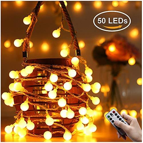 Catene Luminose, Fenvella 5M 50LED IP66 Stringa Luci Led Con 8 Modalità Flash Per Casa,Festa,Giardino,Natale,Halloween,Matrimonio.