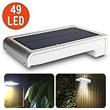 Leeron Lámpara foco iluminación solar de exterior con sensor de movimiento Leeron, 49 LED súper brillante para: jardín, patios, escaleras, garajes… ( PLATA)