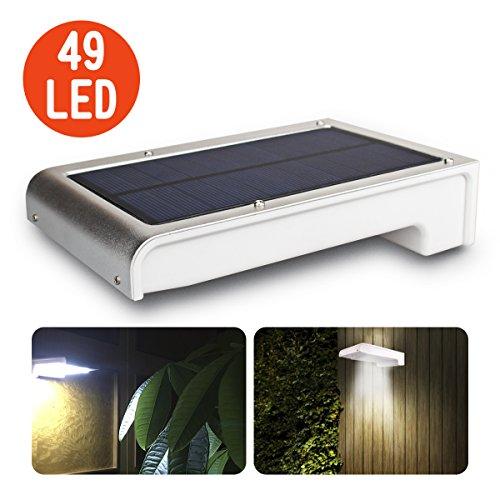 Leeron Luce Solare Lampada ad Energia Solare da Esterno con Sensore di Movimento 49 LED Luminosissimo Alimentato Impermeabile per Parete, Giardino, Prato, Cortile, Muro, Scale