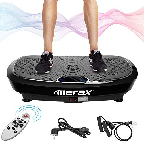 Merax Profi Vibrationsplatte 3D Wipp Vibrations Technologie + Bluetooth Musik, Riesige Fläche, 2 Kraftvolle Motoren Mehrere Richtungen Vibrations + Trainingsbänder + Fernbedienung