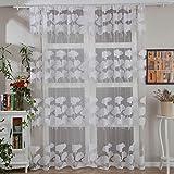 TianranRT 1 PCS Blätter Tüll Tür Fenster Vorhang Vorhang Platte Gardine Schal Schabracken (Weiß)