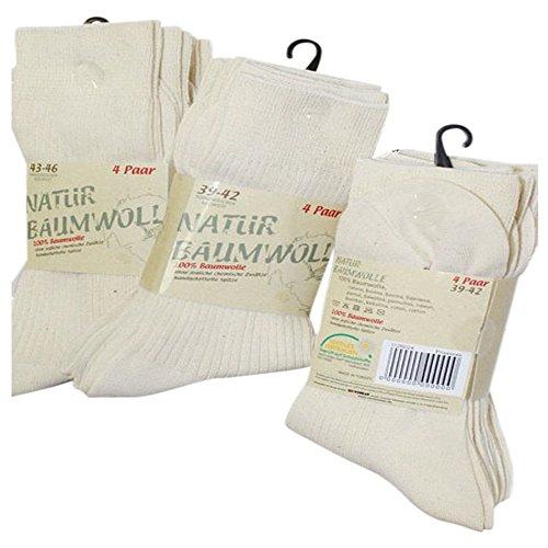 Gesundheitsstrumpf 8 Paar Natur Bio 100% Baumwolle Socken ohne Naht Kochfest (43-46) -