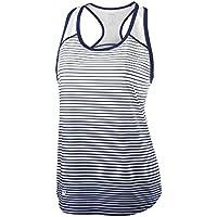Wilson Camiseta de tenis de tirantes para mujer, W Team Striped Tank, Poliéster, Azul/Blanco, Talla: L, WRA766103