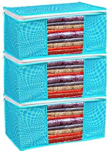 Porchex Presents Non Woven Saree Cover Storage Bags for Clothes with premium Quality Combo Offer Saree Organizer for Wardrobe/Organizers for Clothes/Organizers for Wardrobe_ 118 (Pack of 3)