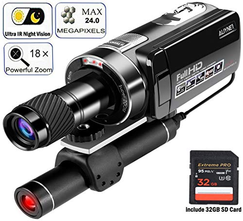 Aliynet - Videocámara Digital de visión Nocturna, hasta 100 m, visión Nocturna Ultra IR, Zoom Digital 1080P 18X con telescopio monocular para Caza y observación Nocturna, Viajes al Aire Libre