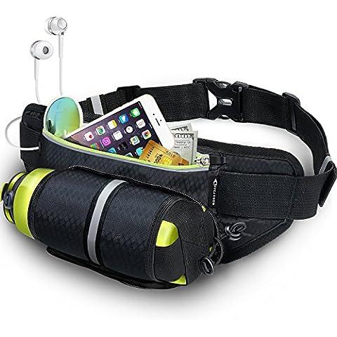 Marsupio Running Uomo MYCARBON Marsupio Sportivo con porta borraccia Cintura Viaggio Corsa per per smartphone 6,6 pollici cintura porta soldi