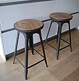 de Style café réglable Tabouret urbain vintage industriel rustique - Matures rouillé