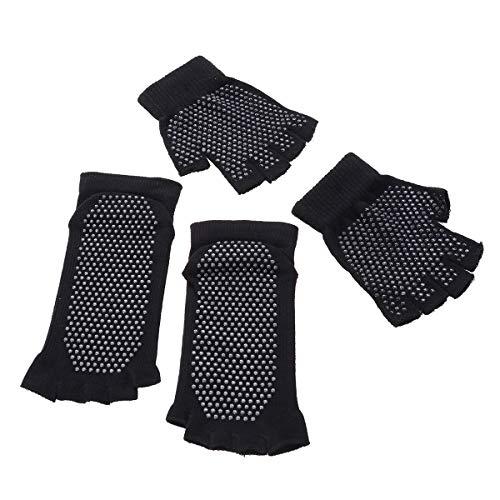 LIOOBO Calcetines Antideslizantes de Yoga Guantes Agarre sin Dedos Calcetín con Puntos Silicona para Yoga Pilates Ballet Barre - Tamaño Libre (Negro)