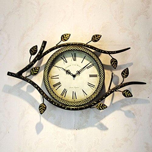 Sunjun European Creative Mode Wohnzimmer Schmiedeeisen Wanduhr Retro Wanduhr Hängen Tabelle Uhr Blätter ( Farbe : B ) -