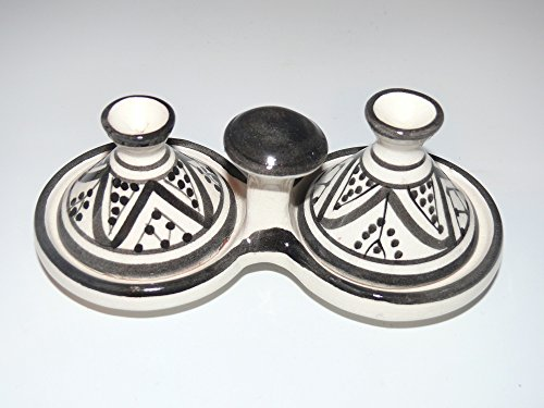 Kleine marokkanische Tajine für Gewürze Salz Pfeffer Tischdekoration Küche 23 (Töne Zitrone Pfeffer)