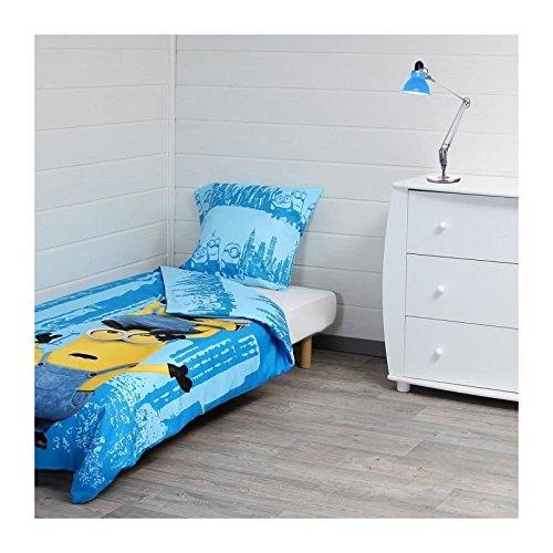 Los Minions juego de edredón–1funda de edredón de 140x 200cm + 1funda de almohada de 60x 70cm), color azul