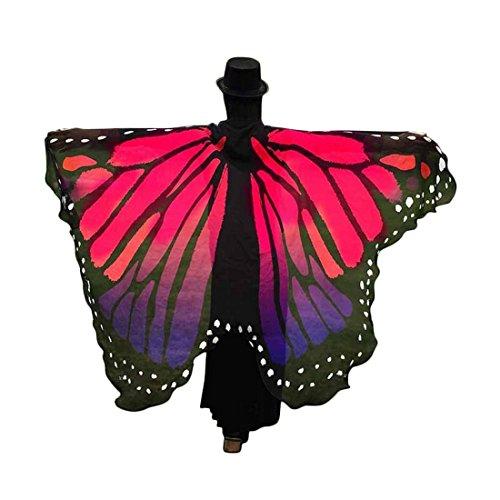 Shinekoo Frauen Weiche Gewebe Schmetterlings Flügel Schal feenhafte Damen Schmetterling Druck Chiffon Sarong Wrap Strand Cover Up (Sarong Wrap Schal)