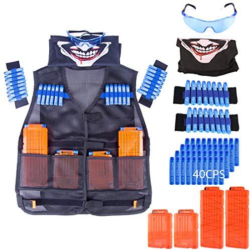 iVansa Taktische Weste für Kinder, Taktische Weste Jacke Kit für Nerf Gun N-Streik Elite-Serie mit 40 er Darts, 1 Goggle, 4 Schnell Nachladen Clips, 1 Maske & 2 Armbände (Nerf Im Streik)