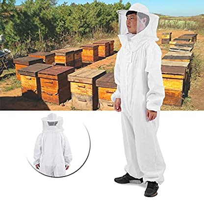 Zerodis Beekeeping Suit Beekeeping Protective Equipment Bee Keeping Full Body Cloth with Veil Hood Total Protection for Professional & Beginner Beekeepers(XL) 7