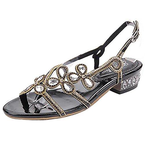 SYYAN Damen Leder Farbdiamant Offener Zeh Pure Handmade Low-heeled Kleid Sandalen 3