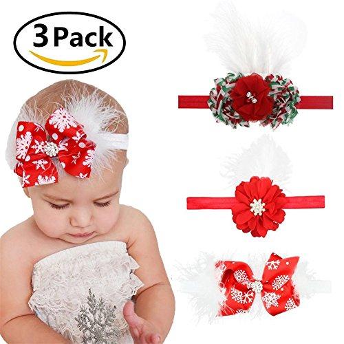 Rot-haar-feder-haar-bogen (ZYCC Baby Mädchen Weihnachten Stirnband Bogen HairBand Multi-Styles HairBand Baby Haar Zubehör Neugeborenen Stirnband 3 Packs)