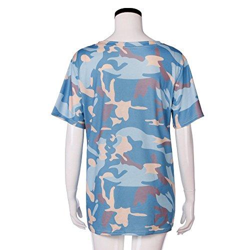 Longra Donna Camicie in cotone Top T-shirt Azzurro